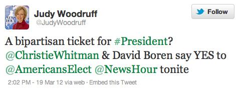 Woodruff Americans Elect tweet